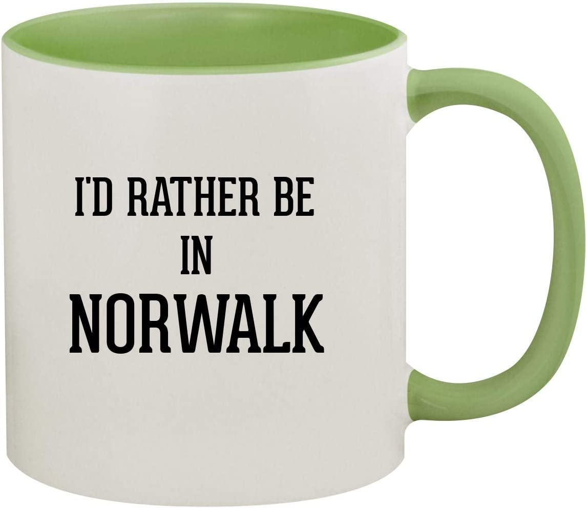 I'd Rather Be In NORWALK - 11oz Ceramic Colored Inside & Handle Coffee Mug, Light Green