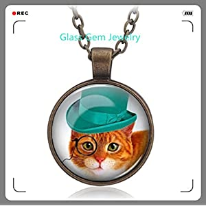 Steampunk necklace, steampunk cat necklace, funny cat necklace, cat top hat necklace, steampunk goggles, gift for men and woman