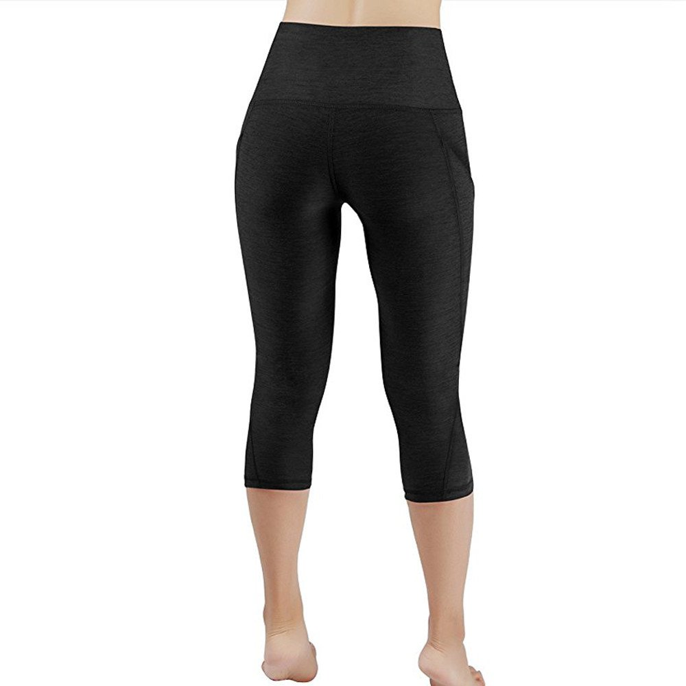 d8869d880dd923 Birdfly Solid Color Petite Tall Capri Pants High Waist Long Yoga Legging  with Pocket for Women Girl Gray at Amazon Women's Clothing store: