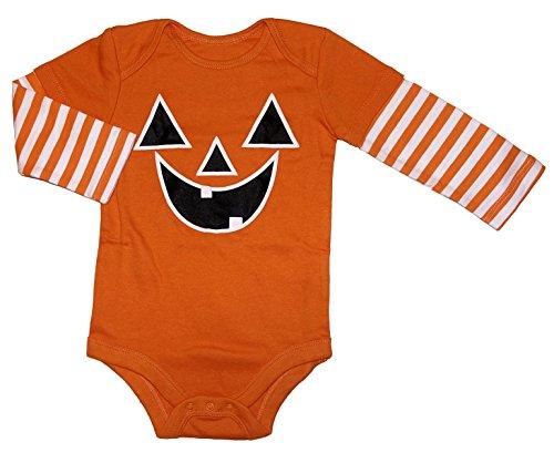 Assorted Witch, Pumpkin, Cat Boys' & Girls' Halloween Bodysuit Dress Up Outfit (24 Months, Pumpkin Face)]()