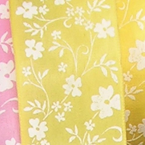 Yellow with White Small Flower Print Taffeta Wired Craft Ribbon 1.5
