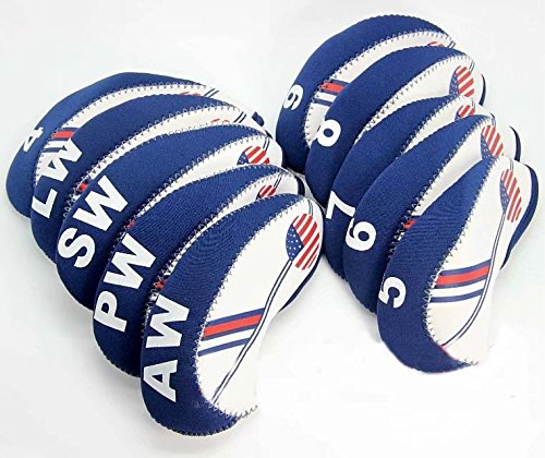 HonsCreat Golf White & Blue US Flag Neoprene Patriot? Driver Golf Club Head Cover Wedge Iron Protective Headcover For Titleist, Callaway, Ping, Taylormade, Cobra, Nike, Etc.