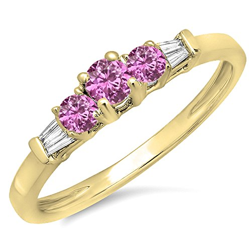 (Dazzlingrock Collection 14K Round & Baguette Pink Sapphire & White Diamond 3 Stone Engagement Bridal Ring, Yellow Gold, Size 9)