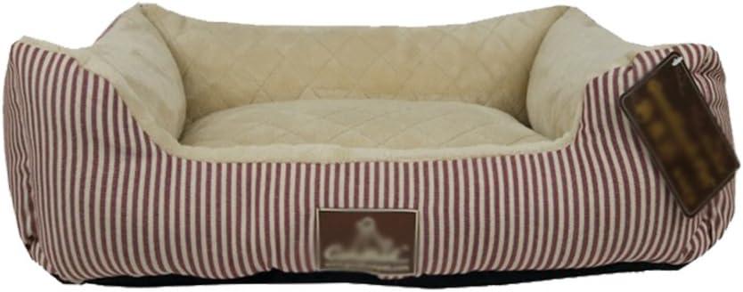 Gatti Divano Interno LvRao Letto per Animali Domestici Righe Trapuntato Cuccia Casette per Cani Rosso, 60 * 45 * 15cm Cuscino