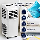 portable a c - DELLA | 10,000 BTU Portable Air Conditioner | Cooling Fan | Dehumidifier | A/C Remote Control | Window Vent Kit | White