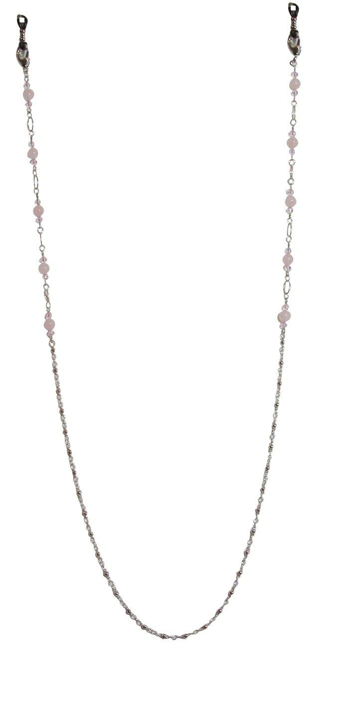 LaRaso & Co Pink Rose Quartz Crystal Eyeglass Chain Strap Holder for Women