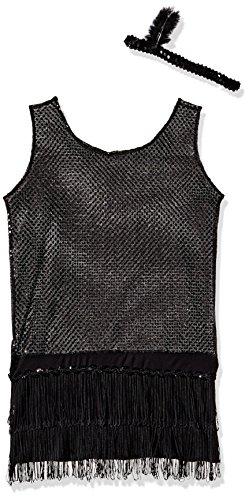 Sequin Flapper,Black,Medium -
