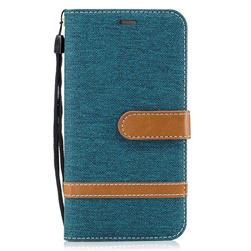 Para Huawei P8 Lite (2017) Contraste funcional Colores Denim Texture PU + TPU Estuche de cuero con soporte y ranuras para tarjetas & Wallet & Lanyard FeiNianJSh ( Color : Magenta ) Green