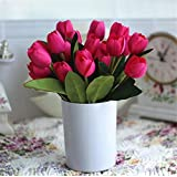 Interesting® 1 Bouquet Rose Red 9 Heads Fake Tulip Vivid Artificial Silk Flower Home Wedding Decor