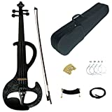 Kinglos 4/4 Black Flowers Colored Solid Wood Intermediate-A Electric / Silent Violin Kit with Ebony Fittings Full Size (DSZA1306)