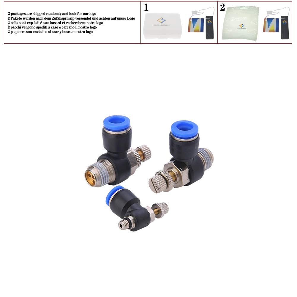 Pneumatic Throttle Valve 3//8 1//8 1//4 BSP Pipe Air Speed Control Valve Quick Fit