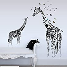 Happy Giraffes Butterflies Wall Decal Home Sticker PVC Murals Paper House Decoration Wallpaper Living Room Bedroom Art Picture for Kids Teen Senior Adult Baby