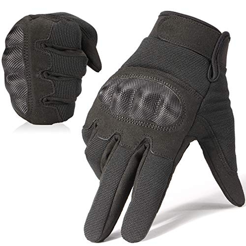 JIUSY Military Shooting Hard Knuckle Tactical Gloves for Airsoft Paintball Motorcycle Cycling Riding Hunting Hiking Army Combat Touch Screen Full Finger Gloves Size Black X-Large B18
