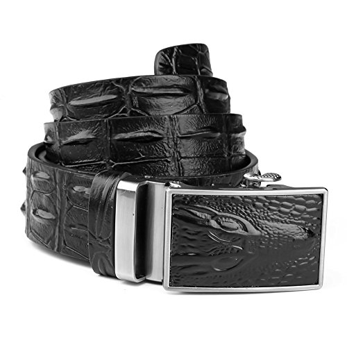 Men's Leather Ratchet Belt Wide Embossed Automatic Reversible Buckle Black Valentines Day Gifts for Men