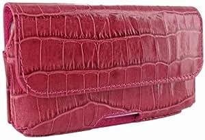 Piel Frama Horizontal - Funda de piel la óptica de cocodrilo para Apple iPhone 5/5S, rosa