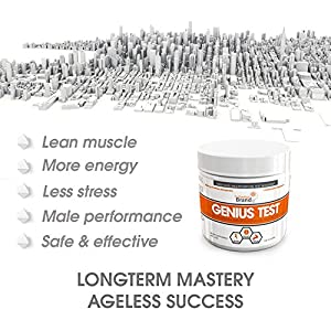 GENIUS TEST - The Smart Testosterone Booster For Men   Natural Energy Supplement, Brain & Libido Support, Fat Loss   Muscle Builder with KSM-66 Ashwagandha, Shilajit and Tongkat Ali,120 Veggie Pills natural male testosterone booster - 51ziT7shF0L - natural male testosterone booster
