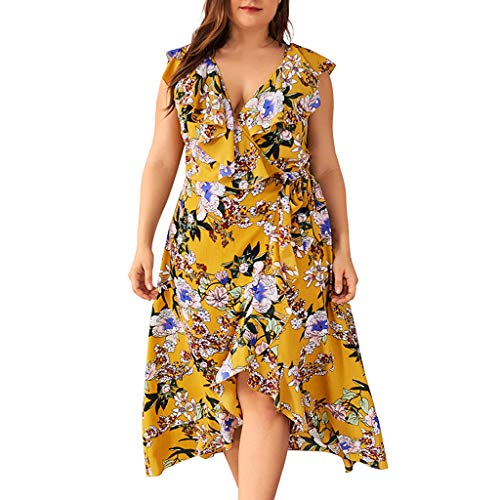- Sundress for Women Plus Size,SMALLE◕‿◕ Women's Spaghetti Strap Dress Holiday Midi Button Knee Length Swing Boho Dresses Yellow