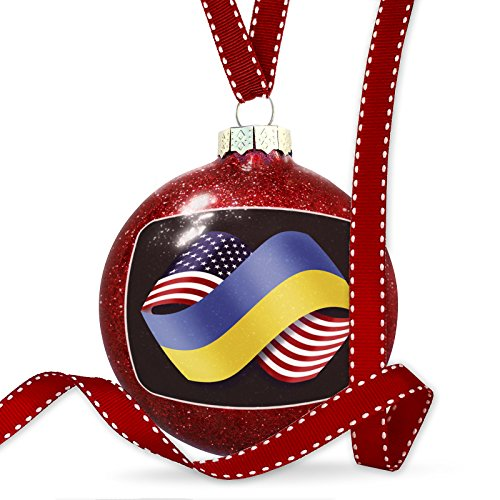 Christmas Decoration Friendship Flags USA and Ukraine Ornament