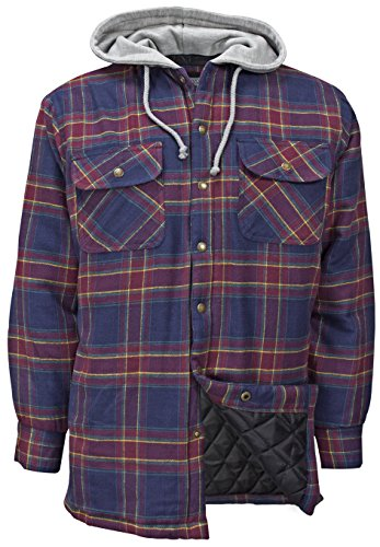 Plaid Hooded Coat (Canyon Guide Outfitters Men's Flannel Plaid Hooded Snap Front Insulated Jacket (Medium, Wine Plaid))