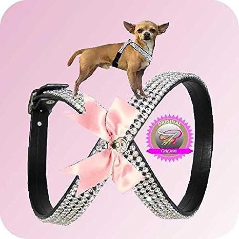 S corazón negro – rosa Perros brillantes para el pecho Chihuahua ...