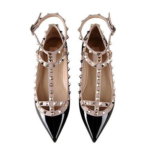 Femmes Les Cheville Pointu Noir Flats Ballets Ballerines Bout Rivets Brevet Merumote De Des Bracelets Chaussures rEqrUgw