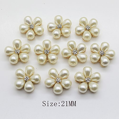 Lkeran Round 20pc 21mm Golden Base Pearl Rhinestone Buttons 2018 Wedding invitatins Decoraation Clothing Alloy Button DIY Hair Flower Center Scrapbooking Craft Supplies