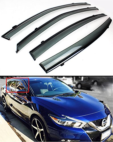 Cuztom Tuning FOR 2016-2018 NISSAN MAXIMA VIP JDM CLIP-ON TYPE SMOKE TINTED WINDOW VISOR WITH BLACK TRIM
