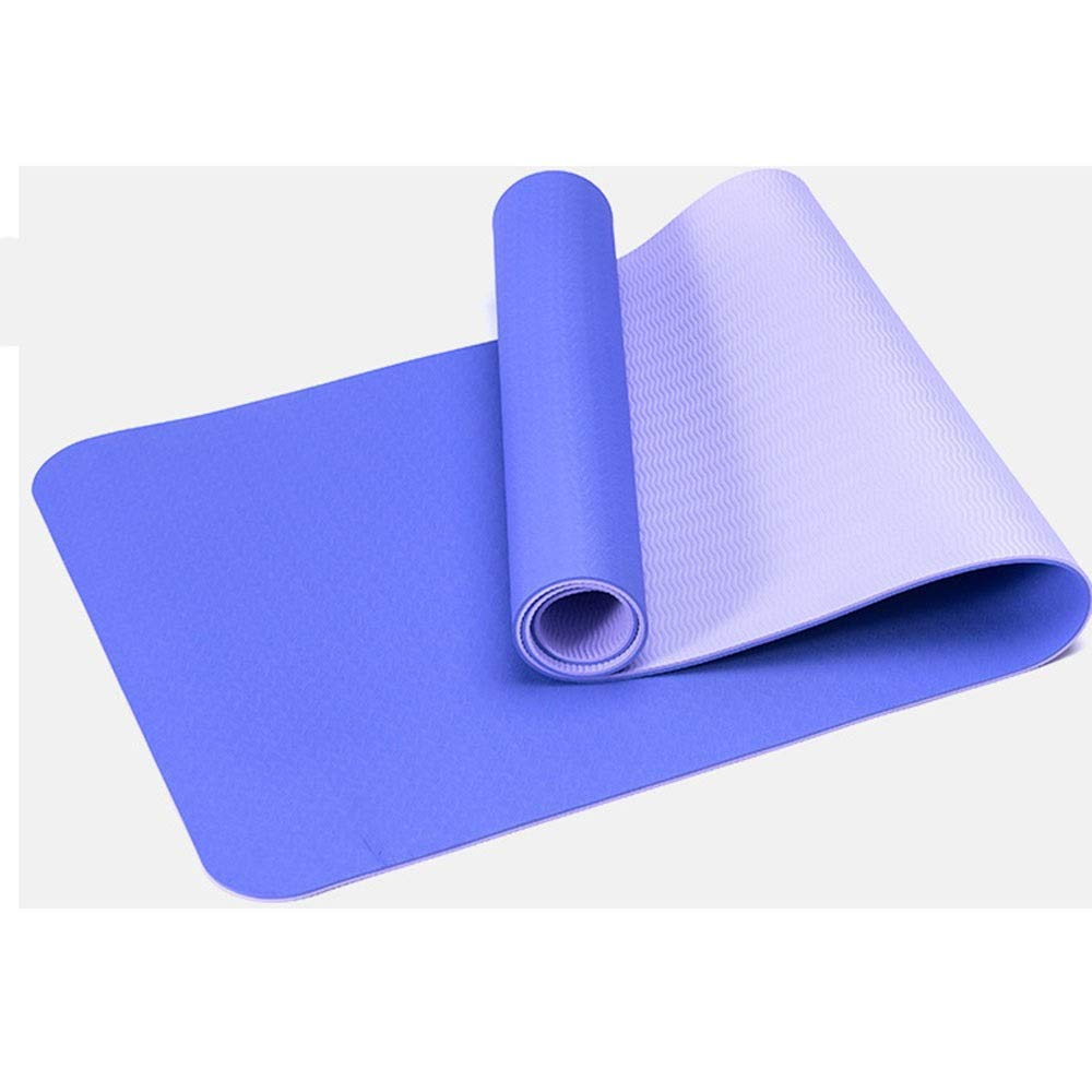 ValueYee Valid Non Slip Yoga Mat with Carry Strap, Eco Friendly & SGS Certified TPE Material – Odorless, Non Slip, Durable and Lightweight, Dual Color Design, Thickness 6mm (Color : Blue)