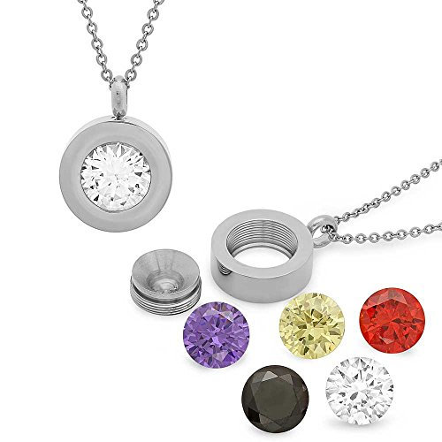 Stainless Steel Round unscrewable Interchangeable Silver Cubic Zirconia Pendant 4.00Ct 14MM