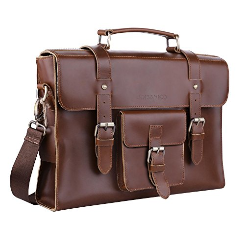 Satchel Leather Messenger Bag Handmade Vintage Small Business Bag Essentials for Laptop & iPad, Leather Briefcase for Men and Women Crossbody, Brown