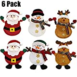 DLciwi 6 Pack Christmas Santa Decor Silverware Holders,Kitchen Suit Pockets Knifes Forks Bag Cutlery Set Santa Snowman Elk Xmas Character for Xmas Holiday Party Christmas Party Decoration