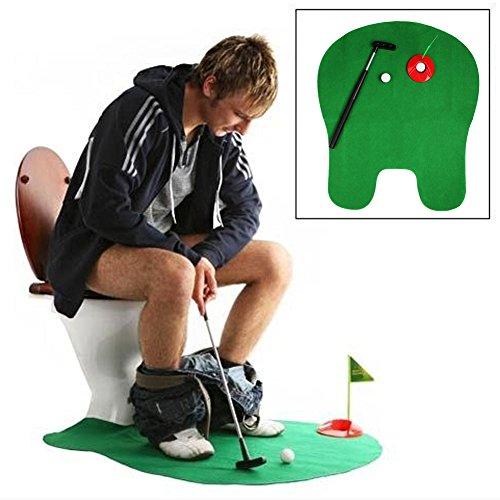 ONcemoRE Potty Putter Toilet Putting Mat Golf Game for Bathroom - Funny Toy Training Accessory for Men Women and Kids - Perfect Mini Golf Novelty Gag Gift Set, Green