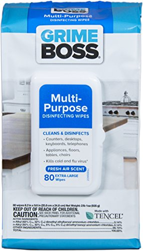 Grime Boss Multi-Purpose Disinfecting Wipes, 80 Count (Pack of 8) by Grime Boss