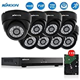 KKmoon 8CH Full 960H/D1 800TVL CCTV DVR Security System HDMI P2P Cloud Onvif Network Video Recorder + 1TB HDD + 8x Indoor Infrared Dome Camera + 60ft Data Cable, Night Vision, Plug and Play Support