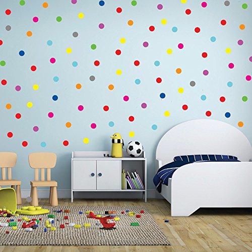 QZT 24Pcs Rainbow Multi Color Size Confetti Polka Dots Circles Vinyl Decals Wall Stickers For Home Decor,M2S1 26 black 4cm