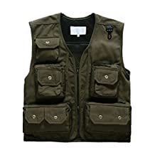 Small-laly Outdoor Multi-pocket Breathable Mesh River Fly Fishing Vest Photography Army Green XXL