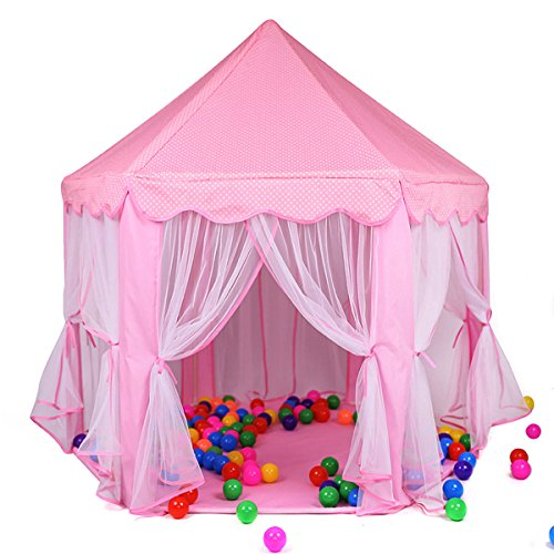 Dress Up Castle Storage (Princess Castle Play Tent House For Girls Indoor Outdoor Toy 56 x 54 inches Pink)