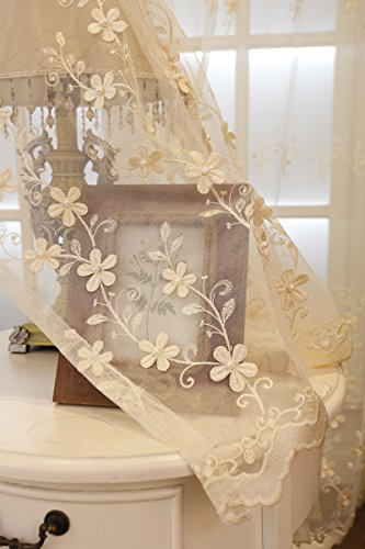 ZZCZZC 1 Set (2 Panels) European Style Sheer Voile Curtains Rod Pocket Beige Sheer Tulle Beaded Floral Window Panels Door Drape Deluxe Home Textile Jacquard Organza Gauze Room Divider W95 x L102 inch