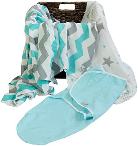 Newborn Bamboo Swaddle Wraps | Baby Blankets 3 pk: Wrap & Two Bamboo Muslin Square Receiving Blankets to Help Infants Sleep Soundly- Light Blue & Grey Stripes & Stars - Baby Shower Gift Registry!