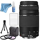 Canon EF 75-300mm f/4-5.6 III Lens with Filter Kit, Table Top Tripod, Lens Cleaning kit and LCD Screen Protectors