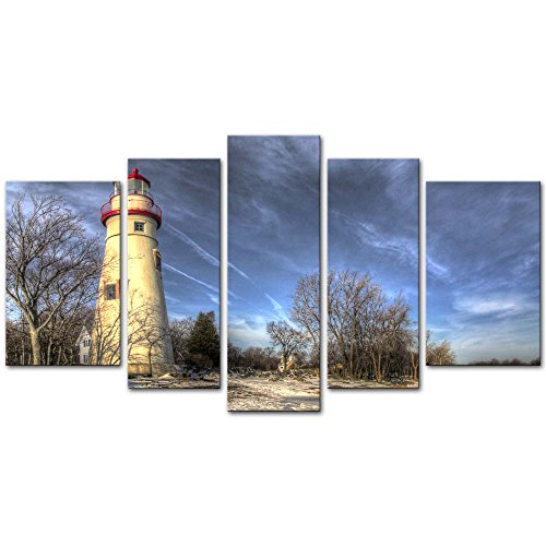5 Pieces Modern Canvas Painting Wall Art Picture For Home Decoration Historic Marblehead Lighthouse Ohio Shores Of Lake Erie Winter Snow Landscape Lighthouse Print On Canvas Giclee Artwork Wall ()