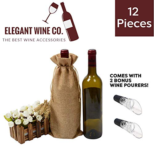 12 Pcs Burlap Wine Bags with Drawstrings Plus 2 Bonus Wine Pourers - Made of Jute/Hessian Fabric - Perfect for a Gift, Travel, Wedding, Birthday, Housewarming and Dinner Party - 13 x 5 Inch - Brown Bottle Jute Wine Bag
