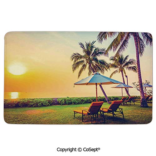 Doormat Entrance Floor Rug Indoor Mat Non-Slip Flannel,Empty Umbrella and Chairs on the Beach Palm Trees at Twilight Times Vacation Theme,for Bedroom Bathroom Living Room Kitchen Home DecorativeMultic