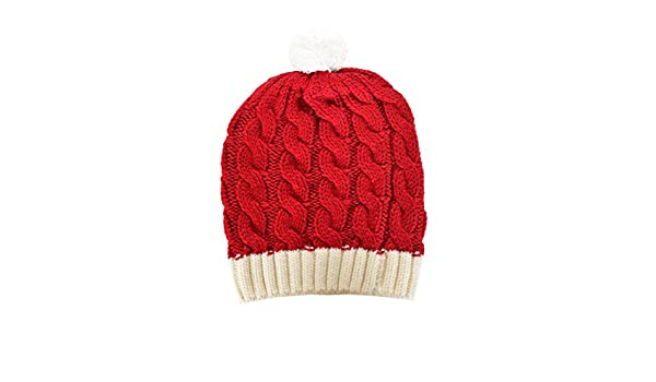 5f2884b01cb RWB Cable Knitted Beanie with Pom Pom One Size Christmas Hat Red at Amazon  Women s Clothing store