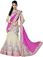 shiroya brothers Women Faux Georgette Embroidered Lehenga Choli (SB_6666 Pink Lengha_Pink & Off White_Free Size)