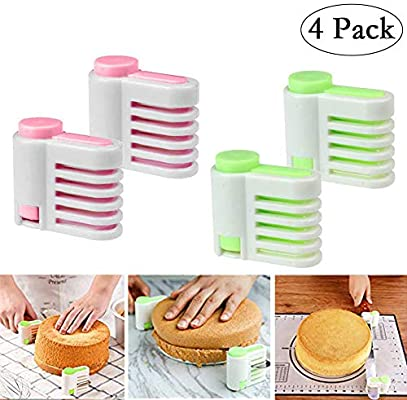 Green 2//4PCS DIY Cake Slicer Stratification Auxiliary Bread Slice Kitchen Tool Toast Cut 5 Layers Leveler Slicer Kitchen Cutting Fixator