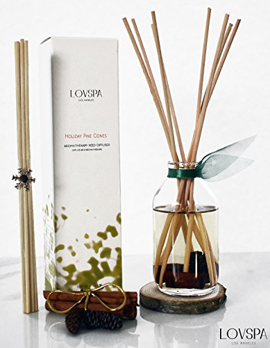 Prime Deal! Holiday Cinnamon Pinecones Reed Diffuser Gift Set by LOVSPA | Woody Pine cones. Homey Woods. Fir Needles. Warm Cloves. Sandalwood | Wood Coaster Included! Rustic Decor Candle Alternative