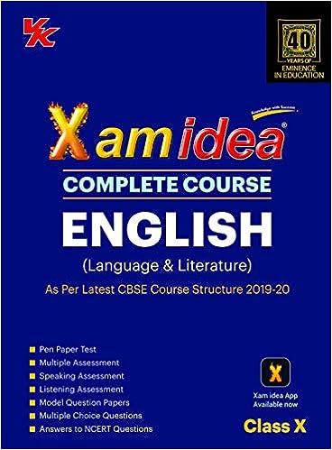 Xam Idea Complete Course English for CBSE Class 10 - 2020