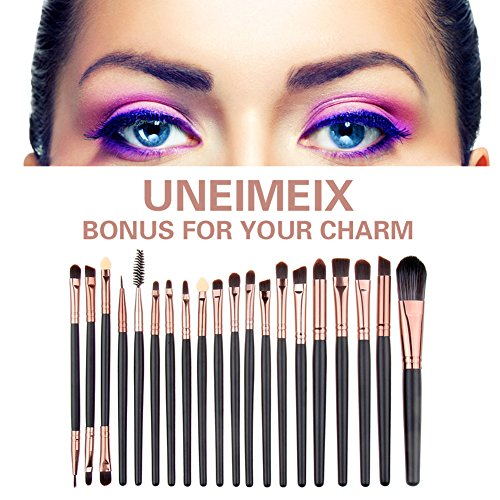 UNIMEIX Eye Makeup Brushes Set Eyeliner Eyeshadow Blending Brushes (20 Pieces Coffee)
