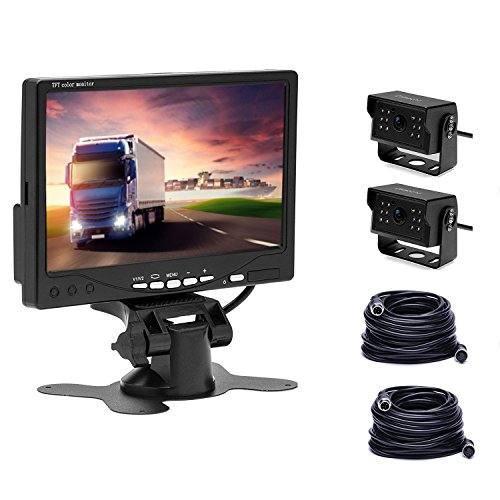 Camecho Truck Backup Camera System 2 Rear View Cameras 12IR Night Vision IP 67K Waterpoof, 7